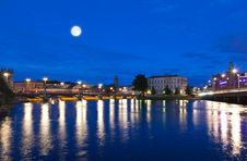 Night Scene Of The Stockholm City Royalty Free Stock Image