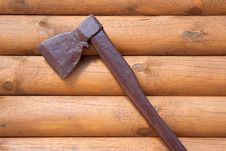 Wall House With An Attached Ax Stock Photo