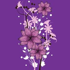 Free Purple Floral Wallpaper Royalty Free Stock Image - 16012066