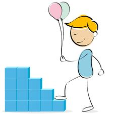Free Vector Kid Climbing Blocks With Balloons Royalty Free Stock Photo - 16013005