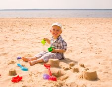 Free Little Boy On A Beach Stock Photo - 16013710