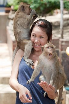 Free Girl With Monkey Stock Photos - 16016133