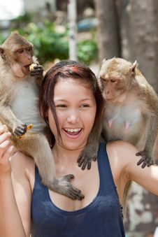 Free Girl With Monkey Stock Photo - 16016140