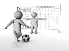 Free Two 3D Soccer Players And The Gate Stock Photos - 16016563