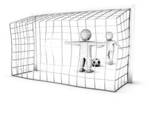 Free Two 3D Soccer Players And The Gate Stock Photos - 16016623