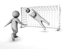 Free Two 3D Soccer Players And The Gate Royalty Free Stock Photos - 16016638