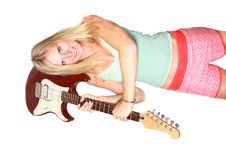 Sexy Blond Girl With Guitar Stock Images