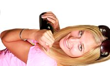 Sexy Blond Girl With Bottle Of Wine Stock Photo