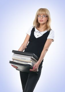 Free A Young Business Woman With A Pack Of Books Royalty Free Stock Images - 16018719