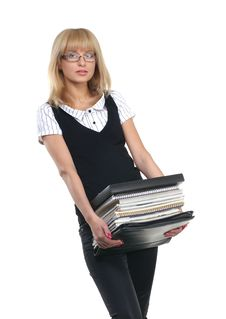 Free A Young Businesswoman With A Pack Of Books Stock Photography - 16018742