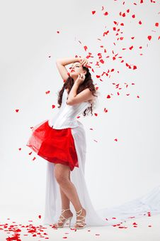 Free Young Beautiful Woman With Petals Of Roses Royalty Free Stock Photo - 16019885