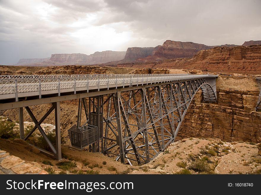 Old railway bridge over marble canyon