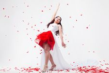 Free Young Beautiful Woman With Petals Of Roses Royalty Free Stock Photos - 16020038