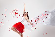 Free Young Beautiful Woman With Petals Of Roses Royalty Free Stock Photo - 16020145