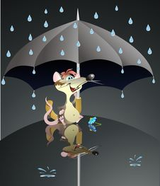 Free Mouse  And Umbrella Stock Photography - 16020182