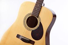 Acoustic Guitar Isolated On White Royalty Free Stock Photos