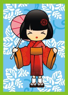 Free Japanese Girl In Red Kimono Vector Royalty Free Stock Photo - 16023175