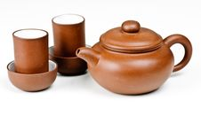 Free Clay Tea Pot And Cups Stock Image - 16024811