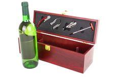 Free Bottle Of White Wine And Sommelier Set Stock Image - 16025951