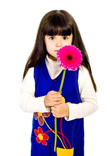 Free Little Girl With Red Gerber Flower.  Isolated Royalty Free Stock Images - 16026049