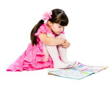 Free Little  Girl With Kids Book. Isolated Royalty Free Stock Images - 16026159
