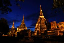 Free Night Scence Of Ayutthaya Historic Park Royalty Free Stock Photography - 16026347