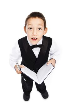 Boy Holding Pen And Book Stock Images