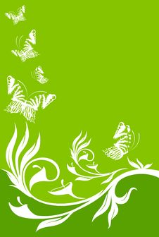 Free Background With Tropical Flowers With Butterfly Royalty Free Stock Photo - 16027165