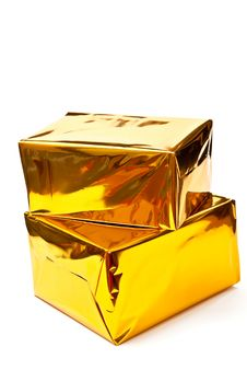 Free Golden Gifts Boxes Royalty Free Stock Images - 16027189