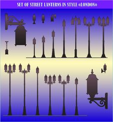 Free Set Of Silhouettes Of Street Lanterns - Vector Royalty Free Stock Photo - 16027205
