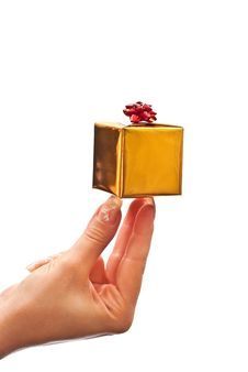 Free Woman Holding Gift Box Stock Photography - 16027232