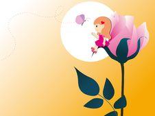 Free Gilr With Big Rose Stock Photos - 16027603