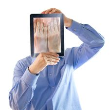 Free He Buried His Face In His Hands.Digital Salesman. Royalty Free Stock Photography - 16028547
