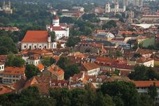Vilnius Cityscape, Old Town Roofs Royalty Free Stock Photo