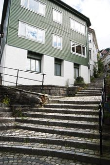 Free Stairs On Street Of Bergen City Royalty Free Stock Images - 16028689