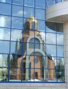 Free Church Reflexion In Windows Of A Modern Building Stock Photography - 16029072