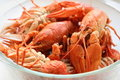 Free Many Boiled Red Crawfishes On Glass Plate. Tasty S Royalty Free Stock Photo - 16033985