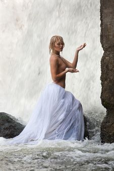 Young Topless Woman In A River Royalty Free Stock Image