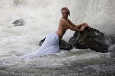 Young Topless Woman In A River Royalty Free Stock Images