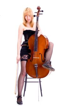 Sexy Girl Portrait With Cello Royalty Free Stock Image