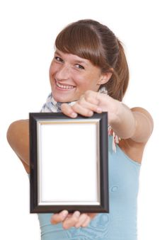 Free Smiling Woman With Picture Frame Stock Image - 16032191