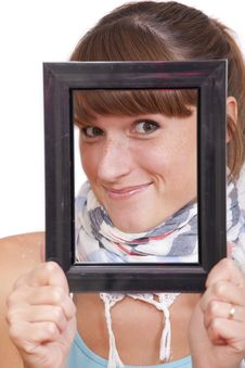 Woman In Frame Stock Photo