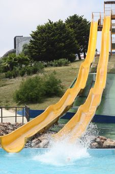 Free High Yellow Slide At Aquapark Stock Photography - 16032252