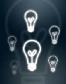 Light Bulbs On Gray Background Royalty Free Stock Photography