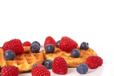 Free Belgian Waffles With Berries And Cream Stock Photography - 16035452