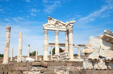 Trajan Temple In Pergamon Turkey Royalty Free Stock Photo