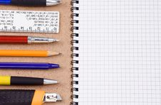Free Pens And Pencils On Pad Stock Photo - 16035770