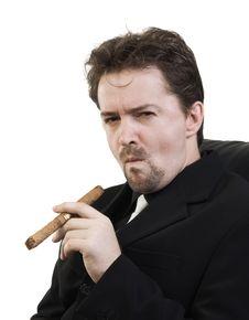 Free Man Smokes Cigar Royalty Free Stock Photo - 16036145