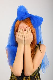 Young Woman Covering Her Eyes Royalty Free Stock Image