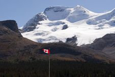 Icefield And Canadian Flag Royalty Free Stock Images